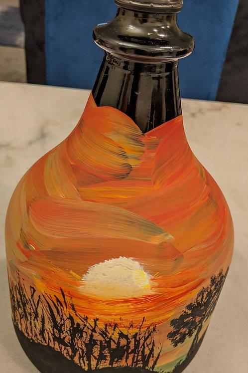 hand painted wine jug