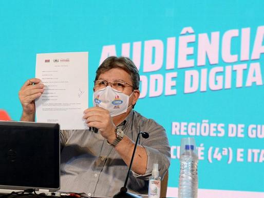 Governador autoriza novas obras e destaca investimentos nas regiões de Guarabira, Itabaiana e Cuité