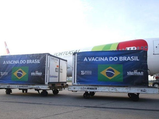 Insumos para produzir 14 milhões de vacinas chegam à São Paulo