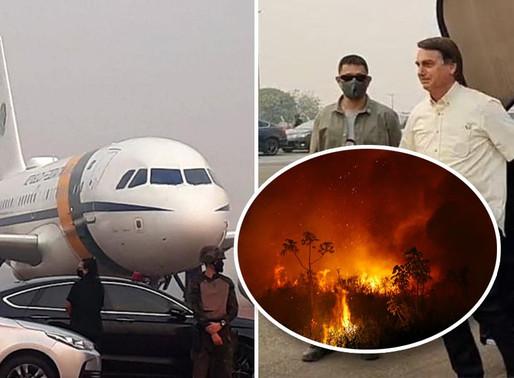 Avião de Bolsonaro arremete por conta de queimadas em Mato Grosso