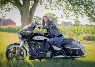 Young Lady on a motorcycle