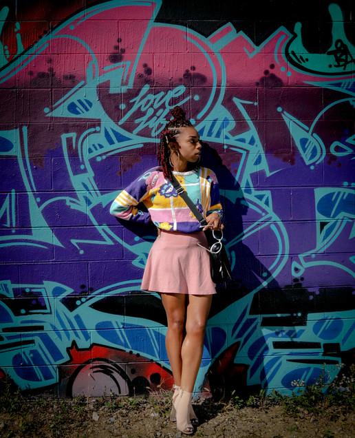 model at the Graffiti wall in Dayton, OH