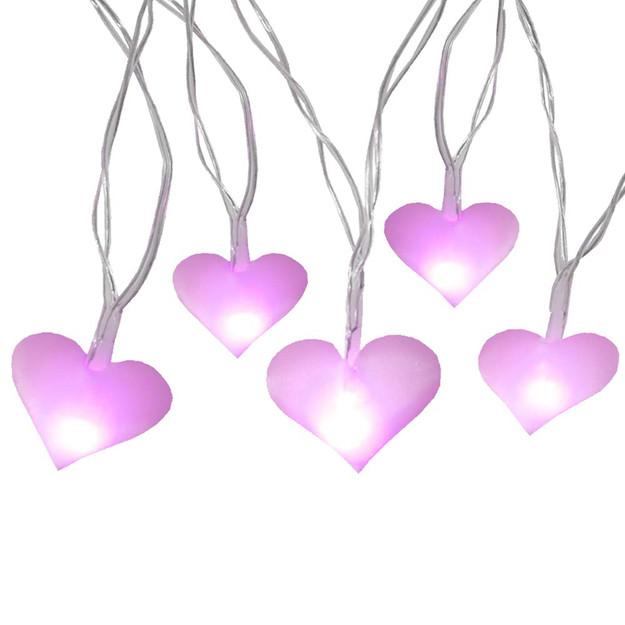 pink heart string lights