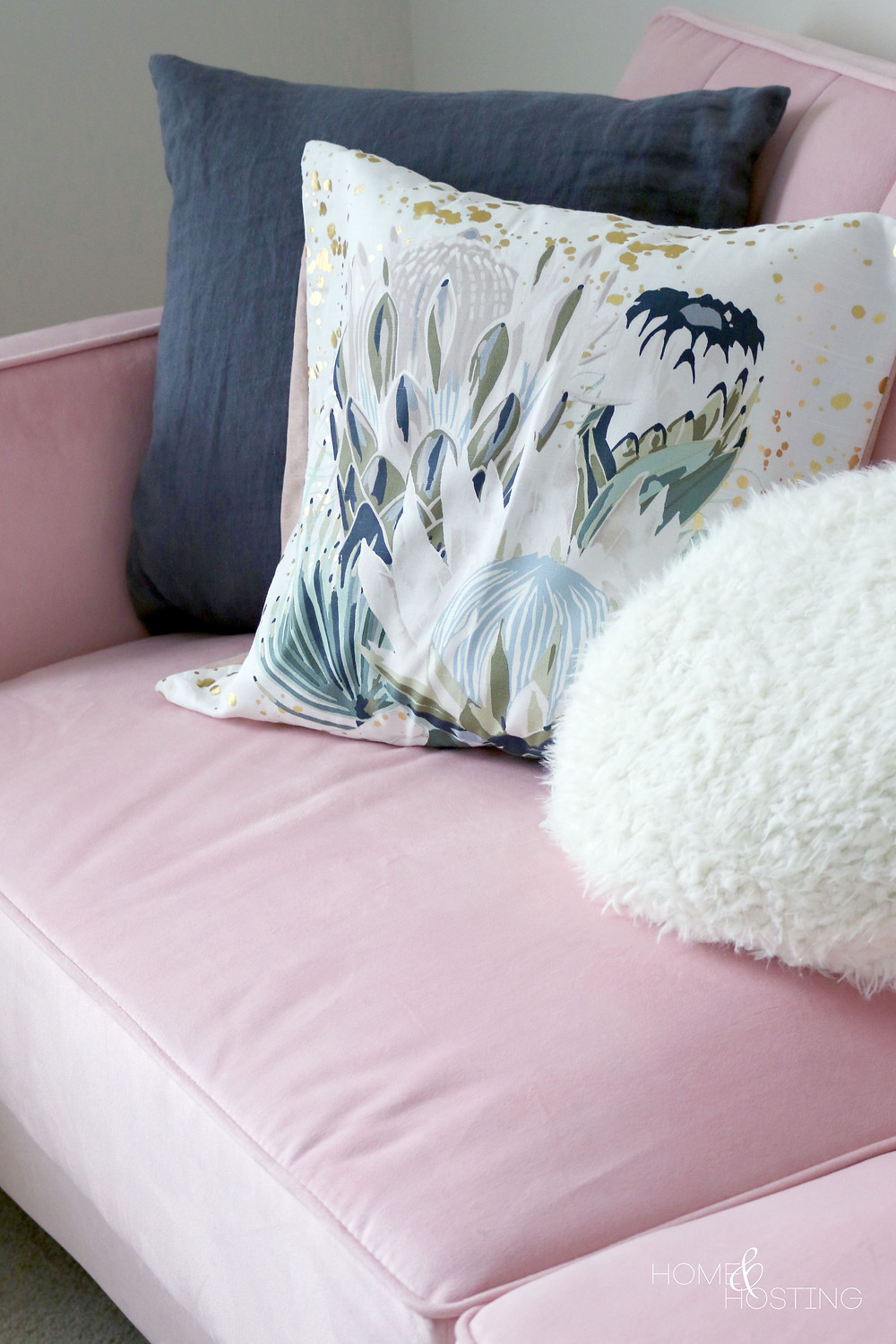 Pink convertible couch