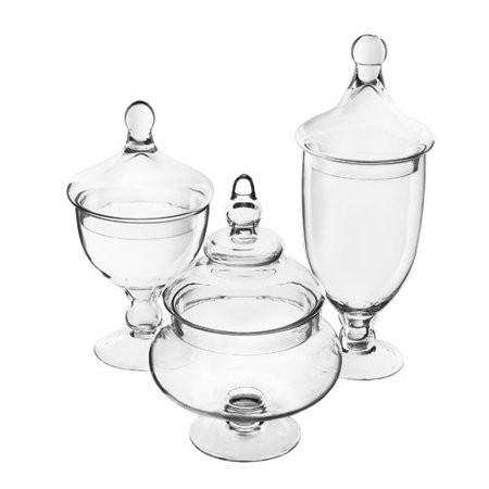 Set of glass apothecary jars with lids.j