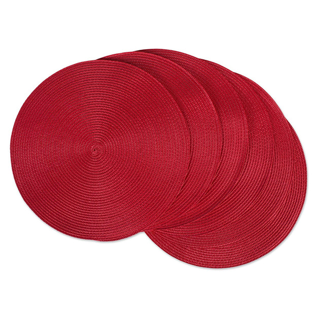 Red woven placemats