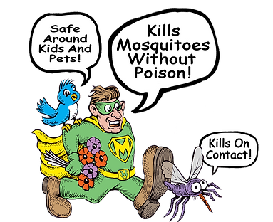 Kills mosqutoes without poison, safe aound kids and pets, kill on contact