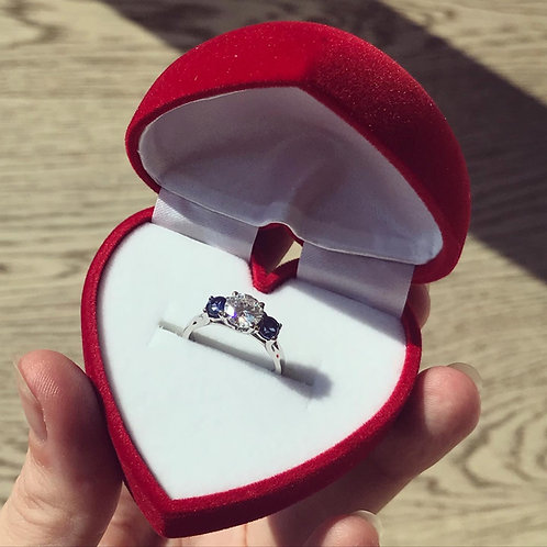 Moissanite and Sapphire Platinum Engagement Ring