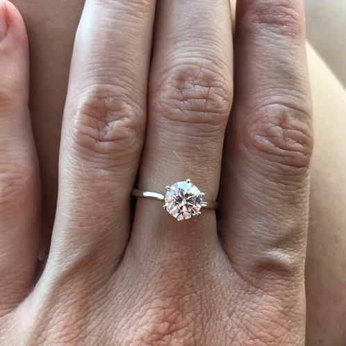 Moissanite Solitaire Ring 7mm (1.25ct)