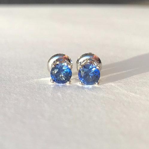 Cornflower Blue Sapphire Stud Earrings 5mm (1.30ctw)