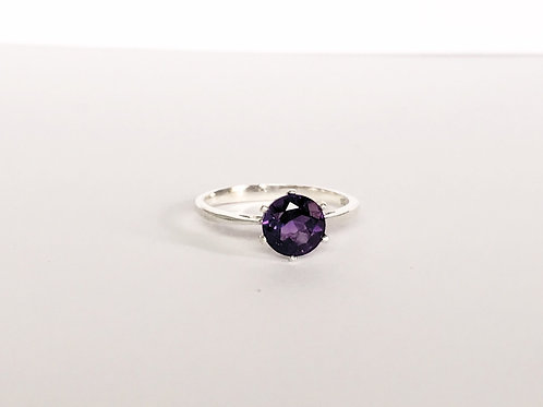 Amethyst Sterling Silver Solitaire Ring 7mm