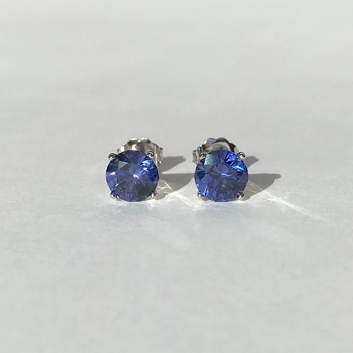 Cornflower Blue Sapphire Stud Earrings 6.5mm (2.60ctw)