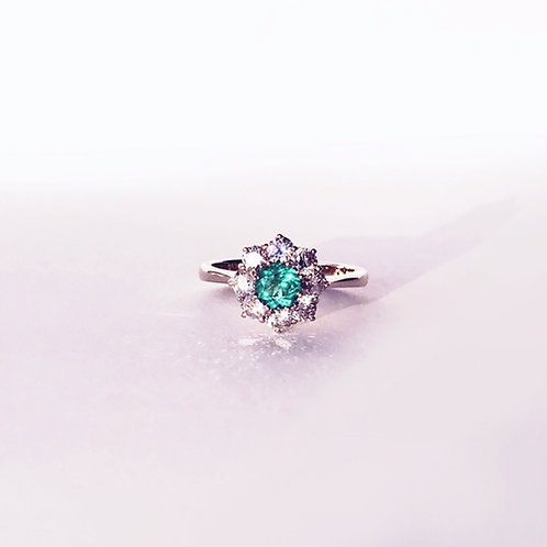 Emerald Diamond Halo Engagement Ring