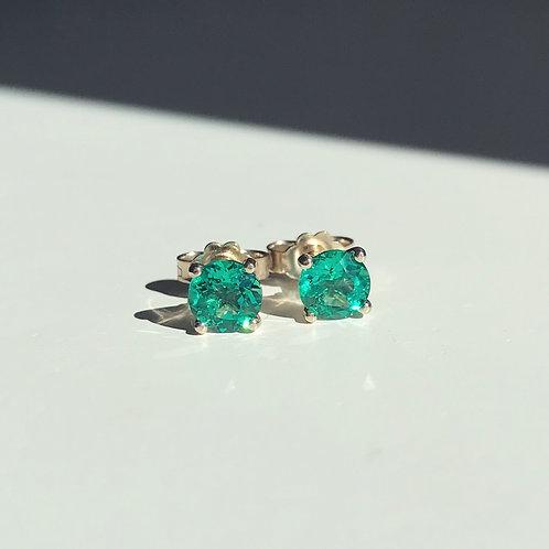 Emerald Stud Earrings 5mm / 6.5mm (1ctw or 2ctw)