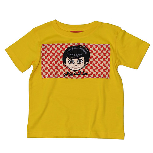 SHAMMAG T-SHIRT FOR BOYS - Yellow  تيشيرت شماغ ولادي - أصفر