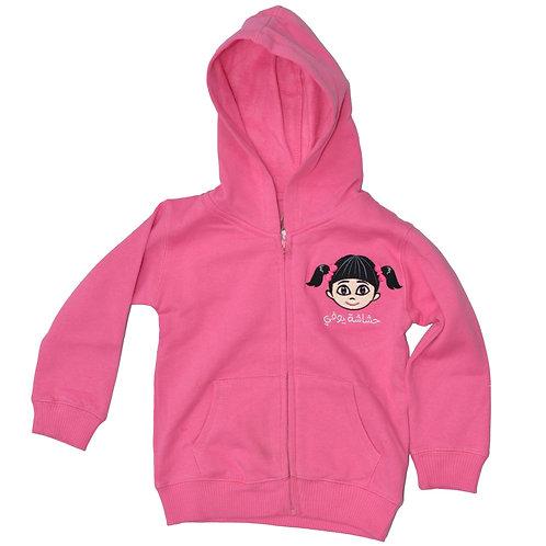 HY ZIPPED HOODIE FOR GIRLS - Hot Pink  هودي حشاشة يوفي بناتي مع سحاب -وردي غامق