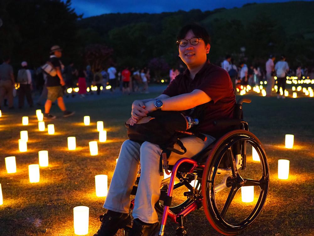 車椅子で燈花会