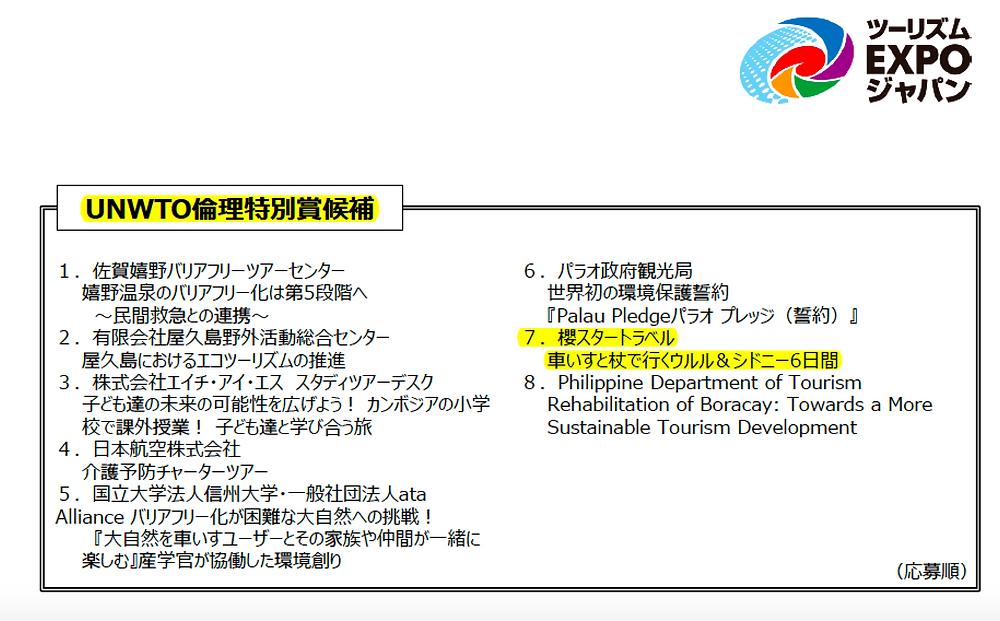 UNWTO倫理特別賞候補