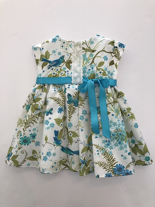 Blue bird liberty print dress