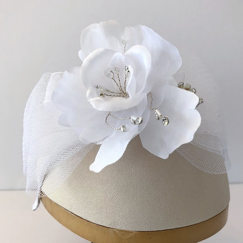 White Headband with Horsehair Bow and Large Silk Flower