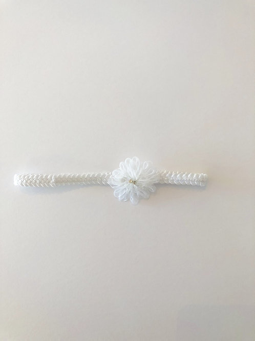 Baby headband with small flower and rhinestones