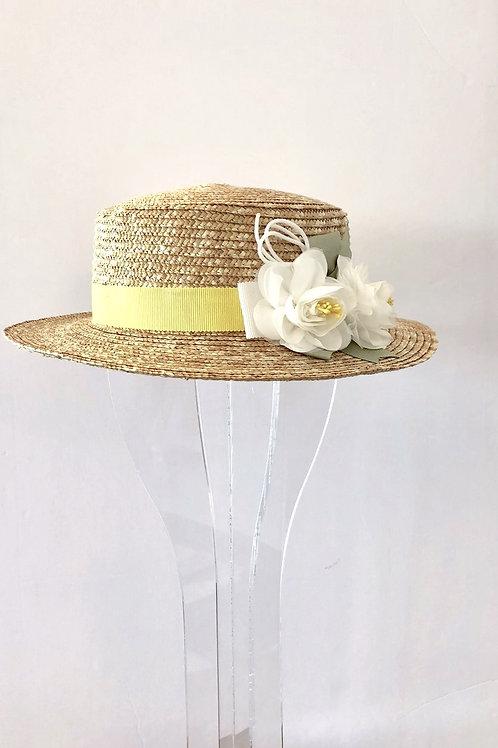 Straw Hat with Lemon Yellow Ribbon