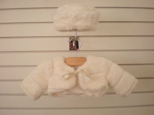 Faux fur baby bolero and pillbox hat