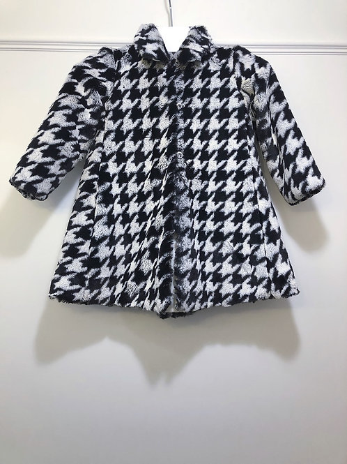 Houndstooth Faux Fur Coat