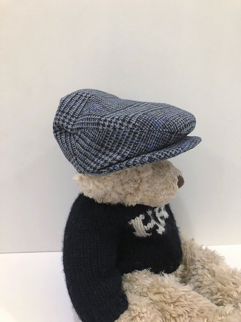 Houndstooth newsboy hat with blue stripe