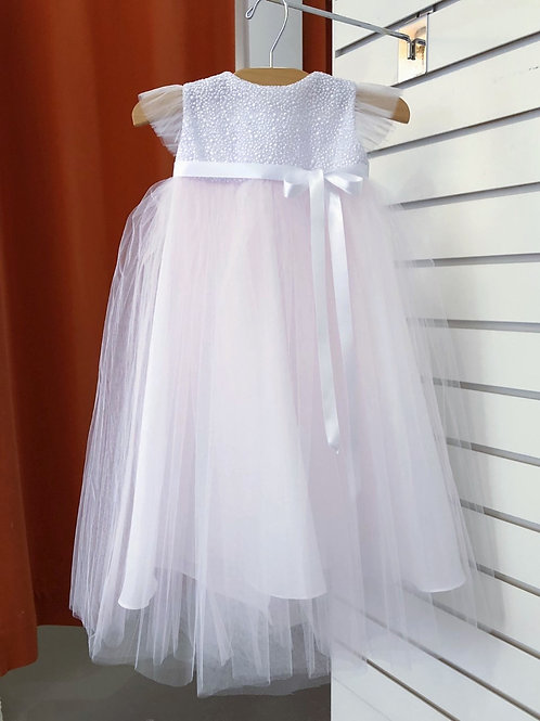 White/Pink Baptism Gown with Butterfly Sleeves