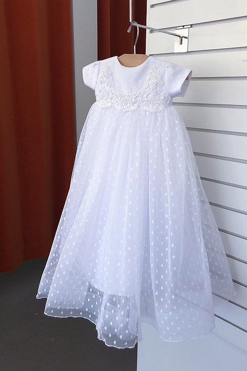 Swiss Dot Tulle Baptism Gown