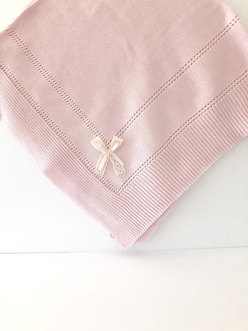 Light Pink Baby Shawl with Lace Bow