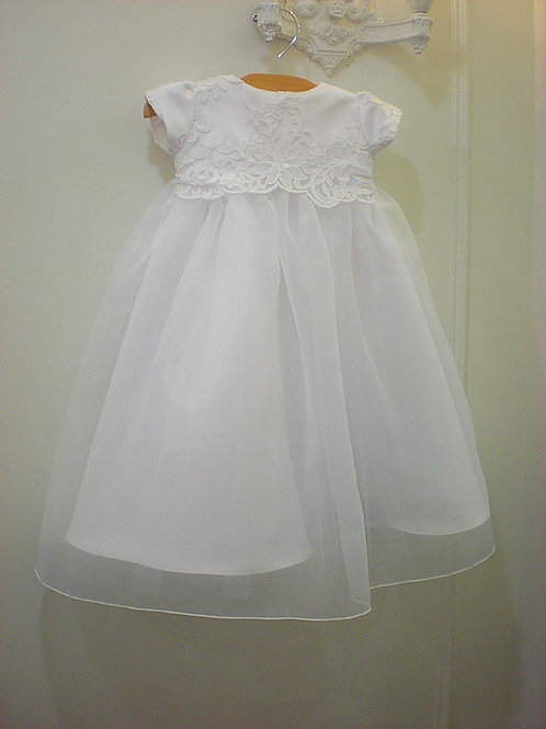 Baptism Gown with Lace Bodice