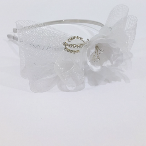 White Headband with Horsehair Bow