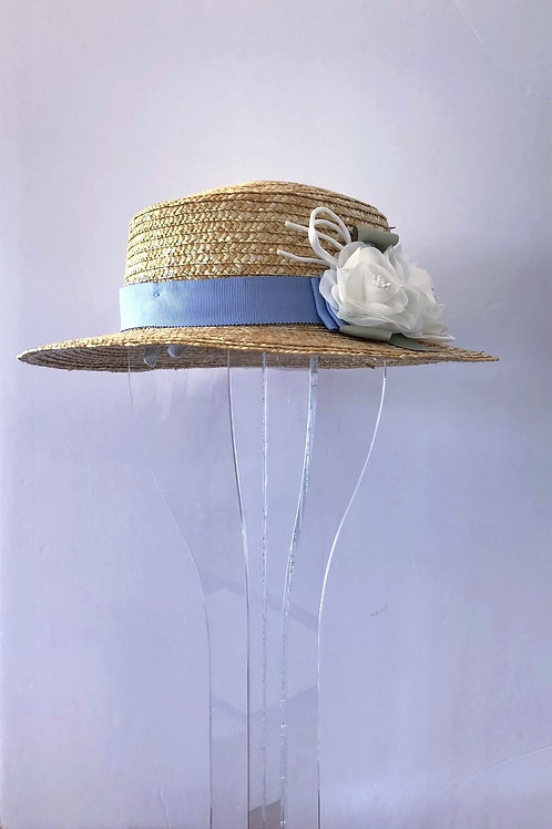 Straw Hat with French Blue Ribbon