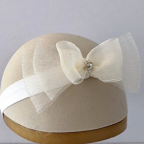 Baby Headband with Horsehair and Organza Bows