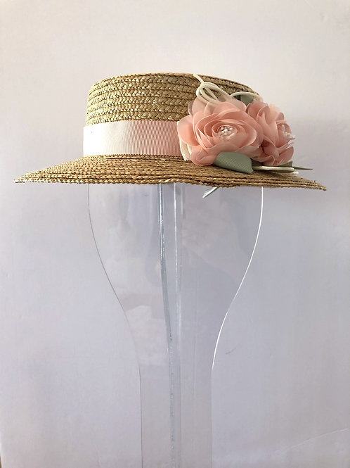 Straw Hat with Blush Ribbon and Silk Flowers