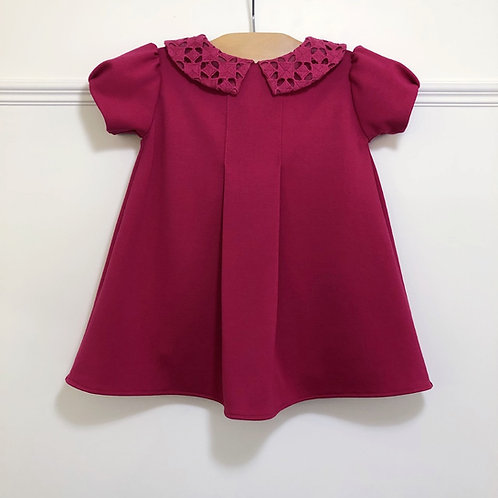 Raspberry Ponte baby dress with eyelet collar