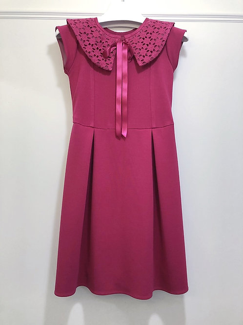 Raspberry Ponte Dress with Removable Eyelet Collar