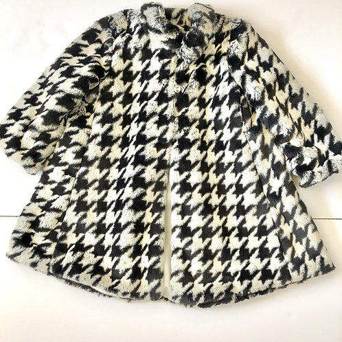 Faux fur houndstooth coat