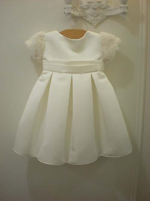 Baby Dress with Faux Fur Sleeves