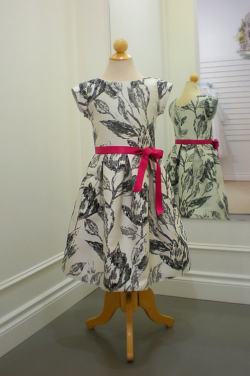 Black / Ivory printed dress with cerise ribbon