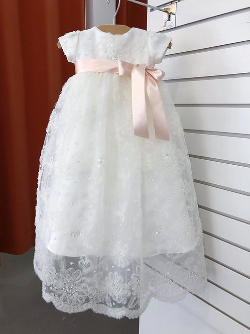 French Tulle Baptism Gown with Blush Ribbon