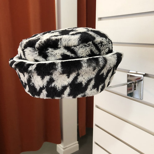 Houndstooth Faux Fur Hat