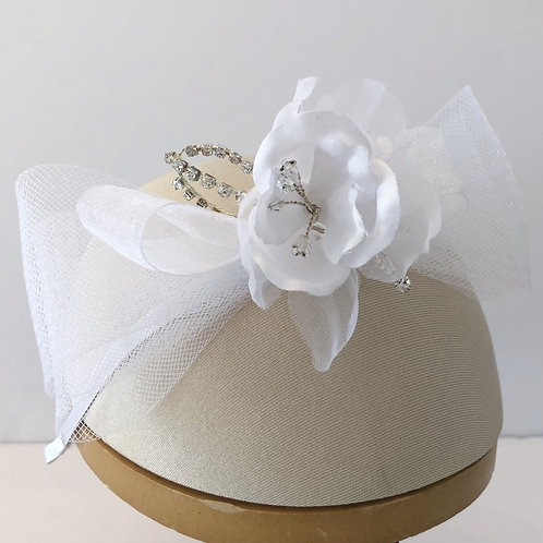 White Headband with Horsehair Bow and Small Silk Flower
