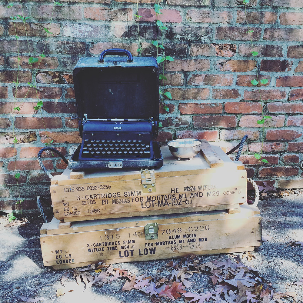 Thrifted typewriter, ammo boxes