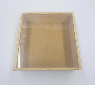 Guacal alcancia pequeña con vidrio