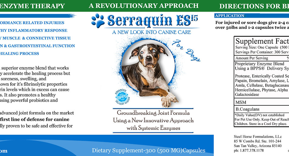 Serraquin ES15 For Dogs-Systemic Enzyme Formula (500MG) 300 Capsules