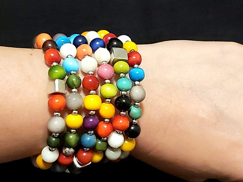 Tagua Pearl with 950 Silver Bracelet