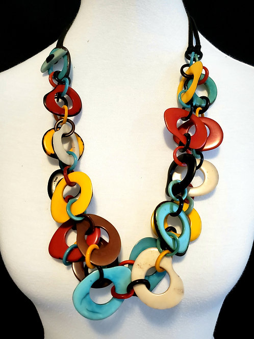 Nina Multicolor Tagua Nut Necklace
